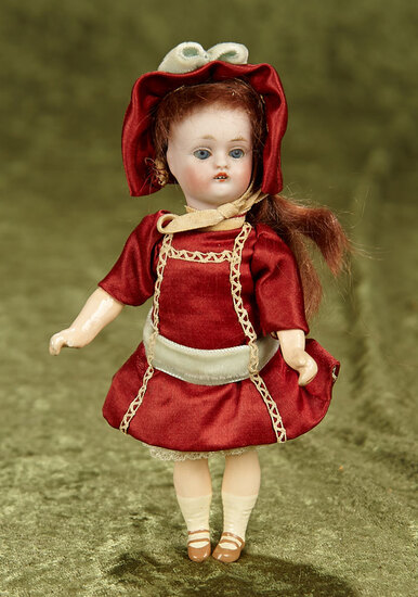 "6"" Petite Kestner child, model 153, original body, nice silk outfit."