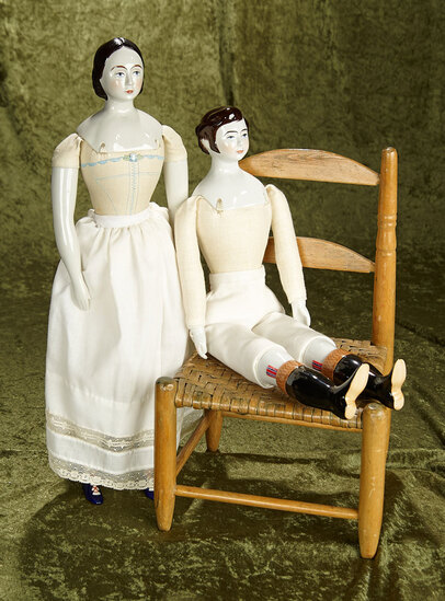 "19"" Pair of china head artist dolls by Ken Borger on nicely stuffed embroidered cloth bodies."