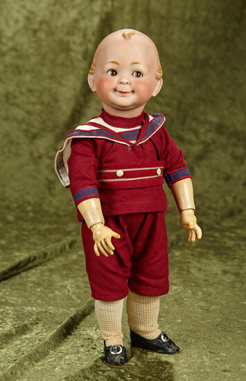"15"" German bisque 173 smiling character boy by Hertel & Schwab, composition body."