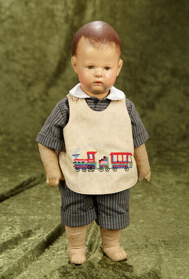 "14"" Early era cloth character boy by Kathe Kruse in nice condition, some retouch on hair"