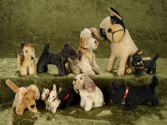 "7"" Group lot of vintage mohair dogs, including several Steiff and Hermann, most have glass eyes."
