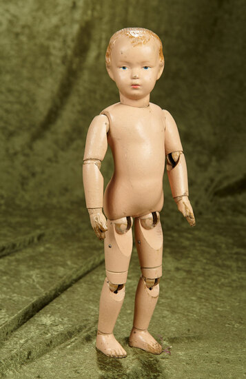 "15"" American wooden boy by Schoenhut with carved wood hair."