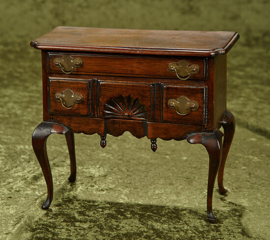 "8"" Queen Anne lowboy chest in mahogany with two dove-tailed drawers and brass hardware."