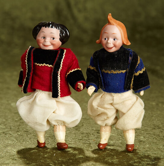 """6"""" Pair of bisque Max & Moritz dolls, composition bodies with nice costumes, age uncertain."""