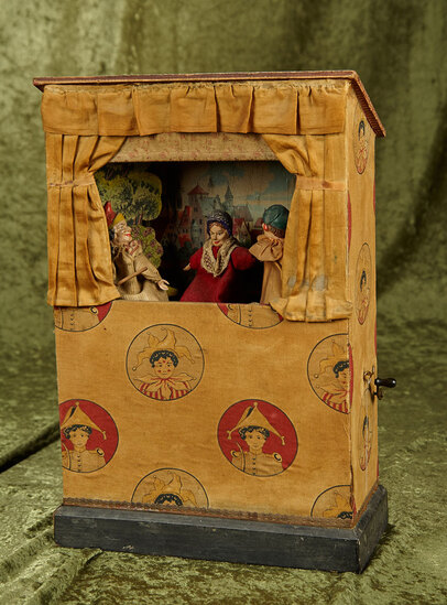"16"" European wooden Punch & Judy theater toy with key wind music."