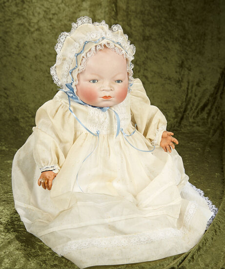 "21"" Grand size German bisque Bye-Lo Baby on original cloth body with sleep eyes, celluloid hands."