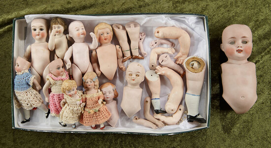 "7"" Group lot of seven German all-bisque dolls and many all-bisque parts"