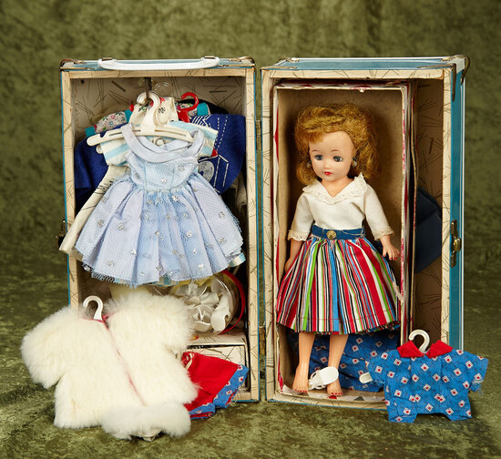 """12"""" Vintage vinyl Little Miss Revlon with box, trunk, clothes and accessories."""