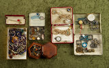 Wonderful grouping of vintage and antique jewelry, buckles and buttons including Crystal brooch.