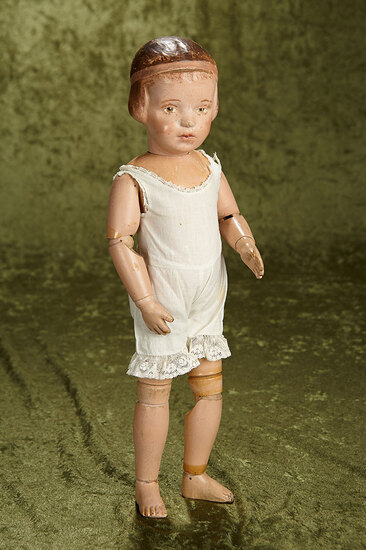 "16"" American wooden character girl by Schoenhut with carved bobbed hair. $400/500"