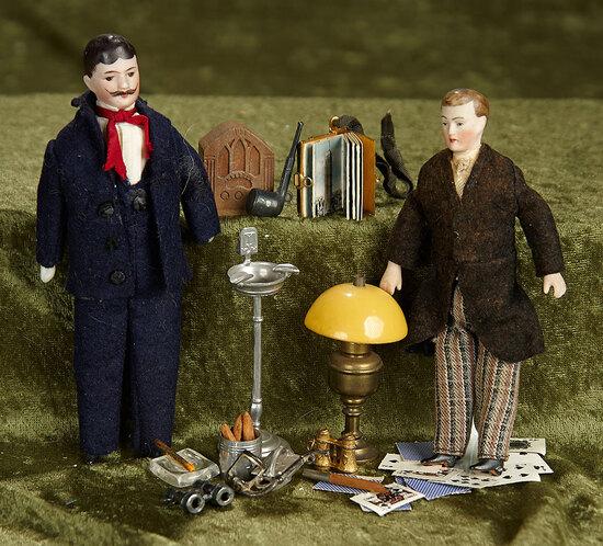 Two German bisque dollhouse gentlemen with accessories. $400/500