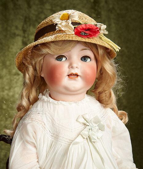"27"" German bisque flirty-eyed character, 156, by Simon & Halbig for Adolf Hulss. $500/700"