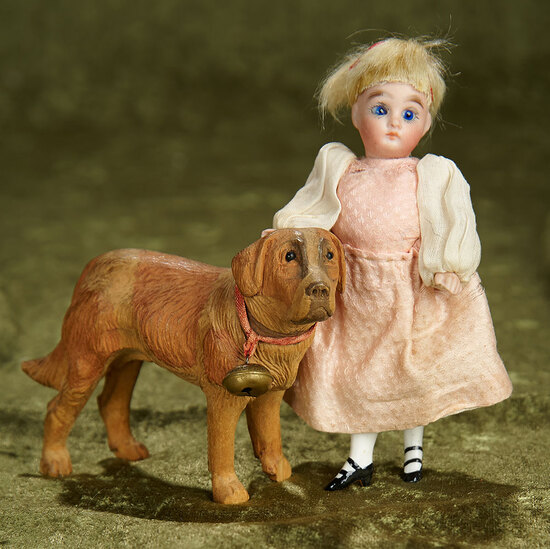"5"" German all-bisque miniature dolls with carved wooden dog. $300/500"