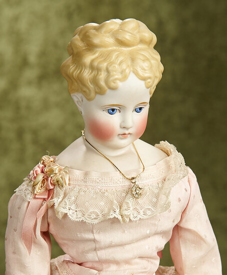 "19"" German bisque lady with sculpted hair in braided coronet. $700/900"