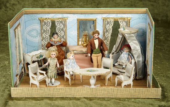 "16"" x 8"" x 8"". French folding miniature parlor, original furnishings and miniature dolls. $900/1200"