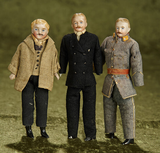 "6""-7"" Three German bisque dollhouse gentlemen, sculpted moustache, original costumes. $500/700"
