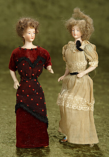 "Two 7"" German bisque dollhouse ladies with original wigs and costumes $400/500"