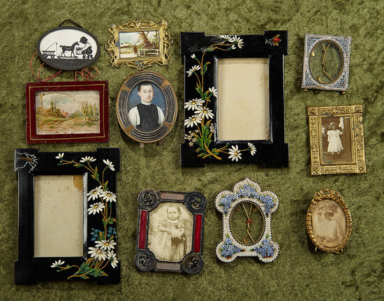 "6"" x 4 1/2"" largest.  Lot of eleven antique miniature frames. $400/500"