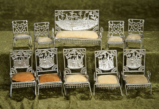 "4""h. Set of antique soft metal furnishings for dollhouse or mini dolls, pat. dated 1893. $300/400"