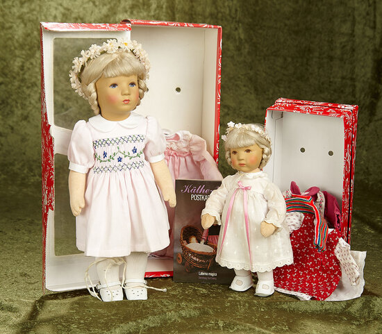 "10"" & 14"" Two German character dolls by Kathe Kruse in original boxes, 1980s era. $300/400"