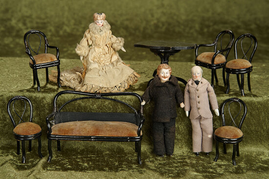 "5"" dolls. German bentwood dollhouse furnishings and three bisque dollhouse dolls. $500/600"