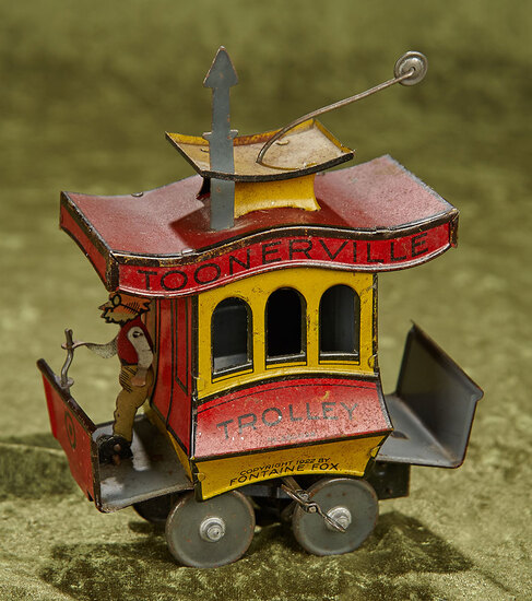 "5"" German tin mechanical toy ""Toonerville Trolley"". $400/500"