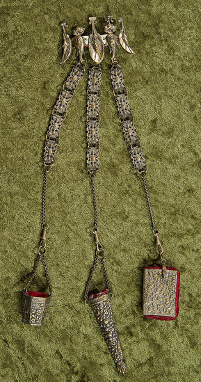 "12"" overall l. Lady's Victorian chatelaine in elaborate design for sewing tools  $300/400"