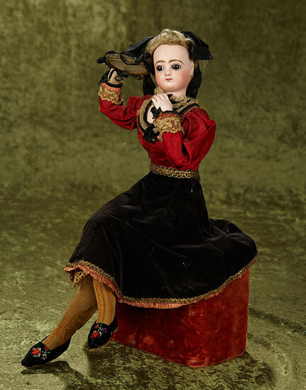 "French musical automaton ""Lady with tambourine"" by Leopold Lambert. $3000/3800"