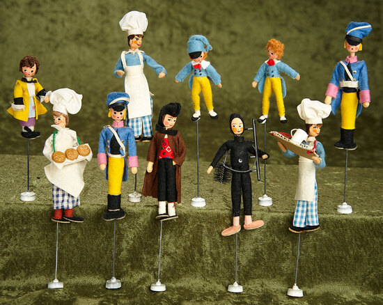 "Ten 5"" German cloth puppet dolls by BAPS, US Zone. $300/400"