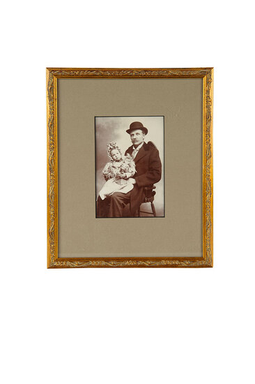 Framed Victorian Photograph of Father with Child and Doll 200/300