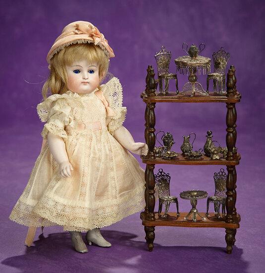 Doll's Mahogany Etagere with Miniature Silver Filigree Furnishings 400/500