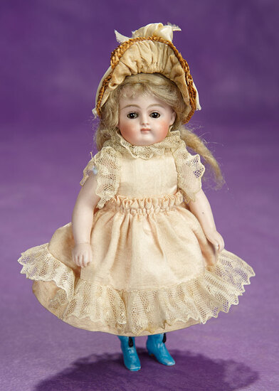 German Brown-Eyed All-Bisque Miniature Doll by Kestner with Painted Blue Boots 700/900