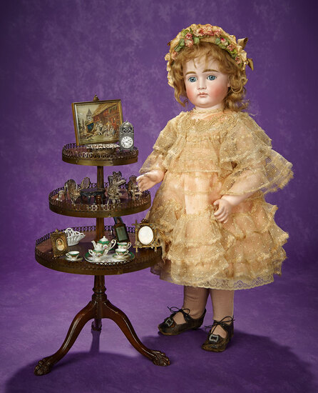 Doll-Size Mahogany Three-Tier Table with Collection of Decorative Miniatures 800/1100