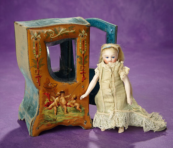 French Miniature Sedan Chair with Cherubic Scenes 400/500