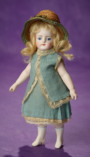 German All-Bisque Miniature Doll with Rare Painted Pale Rose Ankle Boots 800/1200