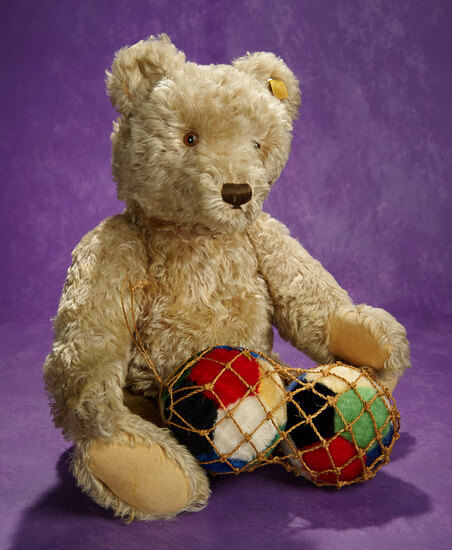 Large German Mohair Teddy by Steiff Along with Mohair Balls 400/600