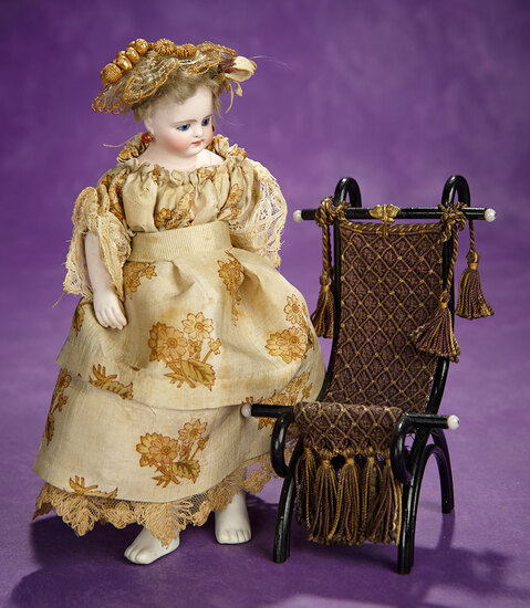 German Bisque Closed Mouth Doll, Bare Bisque Feet by Simon and Halbig 600/800
