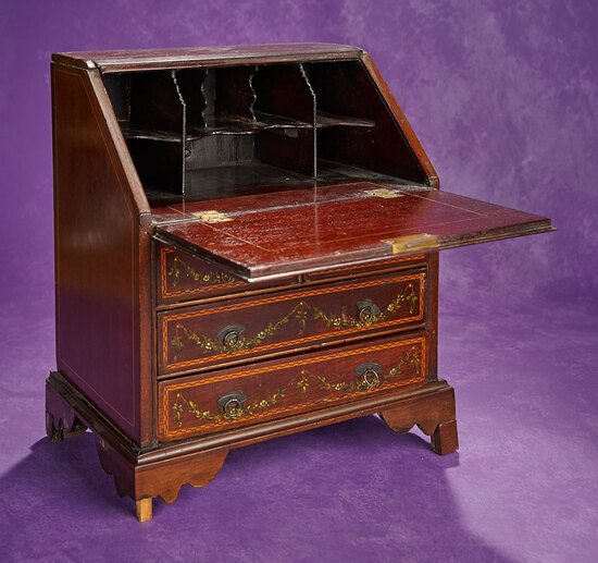 English Mahogany Doll's Slant Front Desk with Painted Details 800/1100