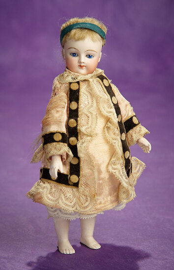 French All-Bisque Miniature Doll with Rare Bare Feet 800/1100