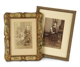 Two Framed Antique Photographs of Young Girls with Their Dolls 200/400