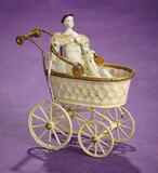 German Tin Doll Carriage by Maerklin with Early Porcelain Doll 400/500