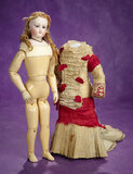 French Bisque Poupee by Leon Casimir Bru with Wooden Articulated Body 2800/3500