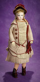 French Bisque Poupee in Original Fashionable Costume Attributed to Jumeau 2200/2800