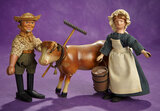 American Wooden Farmer, Milkmaid and Cow from Schoenhut 800/1200