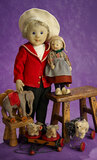 Two Early Period German Felt Character Dolls by Steiff 800/1100