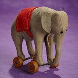 Early German Felt Elephant on Wheels Toy by Steiff 700/900