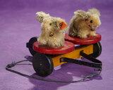 German Pull-Toy Mohair Bunnies on Eccentric Wheel Base by Steiff 600/900