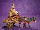 American Wooden Circus Chariot with Glass-Eyed Burro, Clown by Schoenhut 1800/2300