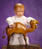 American Wooden Boy with Rare Sculpted Hair by Schoenhut 600/800
