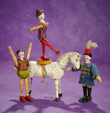 Three American Bisque Head Circus Performers, Wooden Horse by Schoenhut 800/1000
